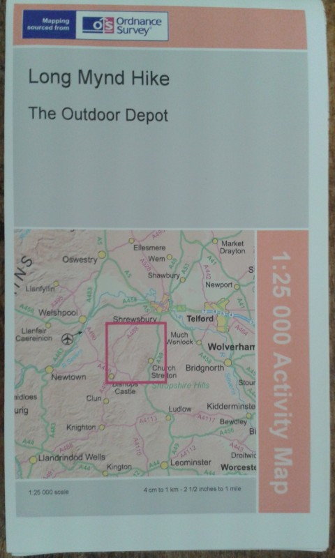 This Ordnance Survey map is specially comissioned by us to cover the full area of the Long Mynd Hike.