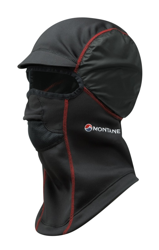 Technical balaclava for use under hoods in winter.