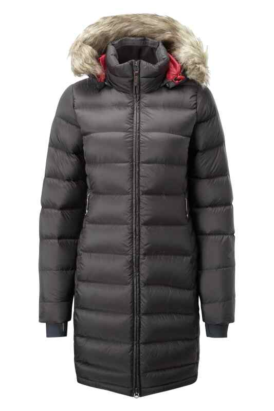 Long length down jacket with faux fur trimmed hood